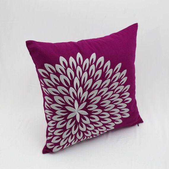 Cuscino floreale moderna copertura scuro viola lino ricamo
