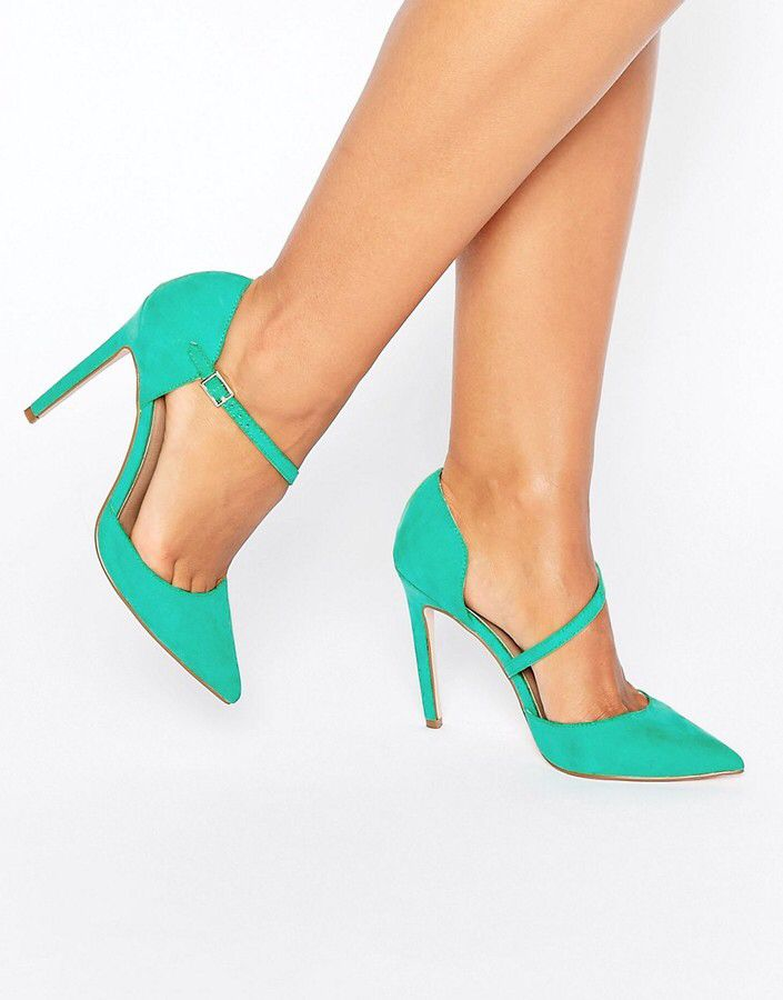 PETAL Asymmetric Pointed High Heels - mint green