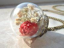 echte Klee Blüten Glasblase Halskette