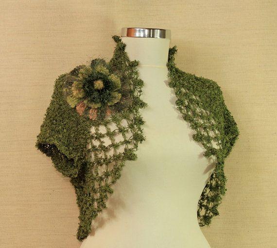 Aegean Green / Hand Knit Army Green Shrug Bolero / by lilithist, $98.00