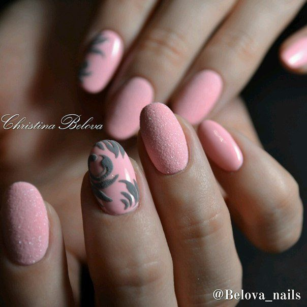 3d nails, Embossed nails, Manicure 2016, Medium nails, Oval nails, Pink manicure ideas, ring finger nails, Sandy nails
