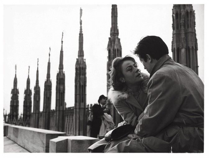 """The top of the Duomo, Milano's Cathedral, Italy. Here Annie Girardot and Alain Delon, in Paul Ronald still from """"Rocco e i suoi fratelli"""", a movie by Luchino Visconti (1960)"""