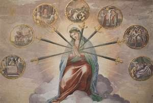 7 sorrows of Mary  The Prophecy Of Simeon   The Flight Into Egypt  The Loss Of Jesus In The Temple  Mary Meets Jesus On the Way To Calvary  Jesus Dies On The Cross  Mary Receives The Dead Body of Jesus  Jesus Is Laid In The Tomb