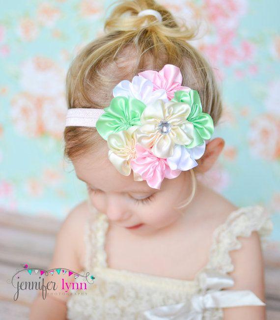 Easter Headband, Spring Headband, Baby Headband, Pastel Headband, Flower Girl Headband, Flower Headband