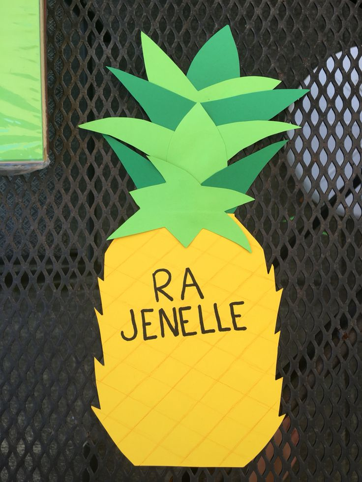 My first door decoration! Pineapple door dec for August & 2931 best RA for Tay images on Pinterest | Ra boards Classroom ...