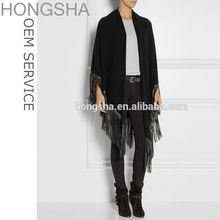 Knitted Shawl Knitwear Latest Design Leather Suede Fringed Knit Poncho HSC48230     Best Seller follow this link http://shopingayo.space