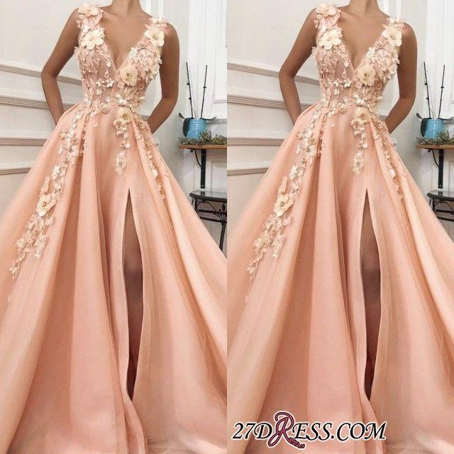 Elegante ärmellose 2019 Abendkleider mit V-Ausschnitt | Geschlitztes Abendkleid Mit Blumen Im Angebot TMD BC0892 Artikelnummer: IN0254