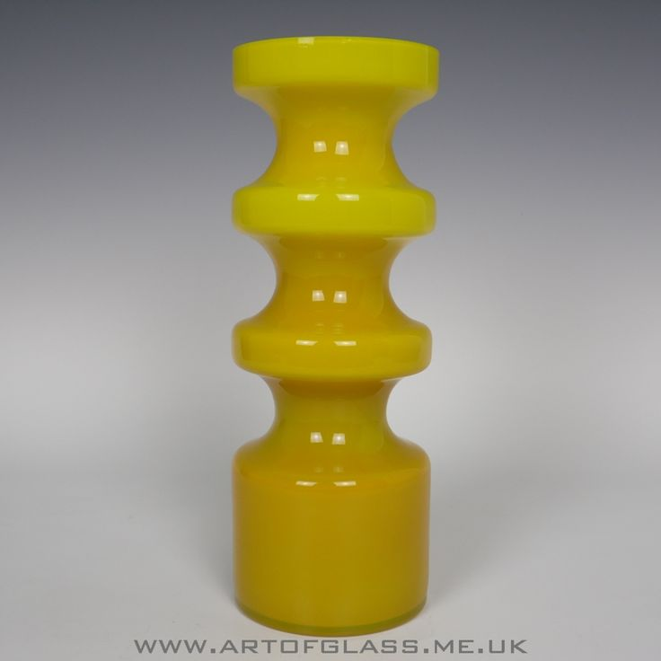 Alsterfors Swedish 1960s/1970s yellow glass vase by Per-Olof Ström