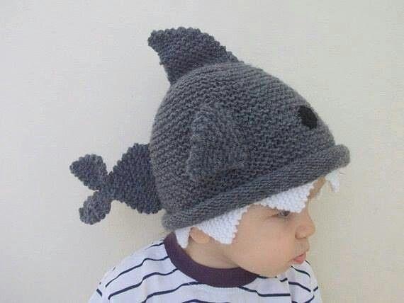 Adorable crochet shark beanie.