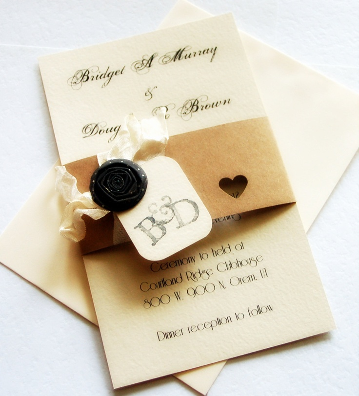 Wedding Invitations Romantic Shabby Elegant Wedding Save the Date Initial Tag Tea Stained Ribbon RSVP Cards Made to Order. $8.50, via Etsy.