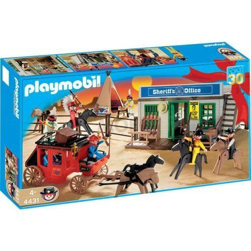 "Playmobil Western Set by Playmobil. $297.97. Ages 4 and up. A Playmobil Micro set. Includes two non-magnetic standard figures. All miniature figures and animals are magnetic. Open and start playing! In a handy pocket box. All figures and animals are magnetic. Carry it along. The Pirate microworld makes a great ""toy"" for the playmobil children in your Dollhouse or Castle!WARNING: Because of the very small pieces and tiny magnets, this product poses a hazard to childr..."
