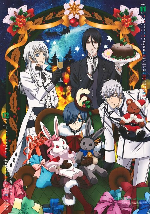 Black Butler: Book of Murder (黒執事 Book of Murder) is on the November & December poster from theAnimage Magazine(Amazon US|JP) 2015 poster calendar. This lovely holiday scene was illustrated by key animator Mariko Emori (江森真理子).
