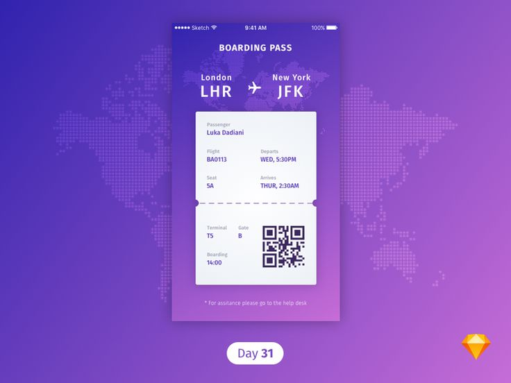 For today's daily UI I wanted to do the boarding pass. Let me know what you guys think! Always looking for ways to improve!  I was thinking of really not using purple for a while but just love this...