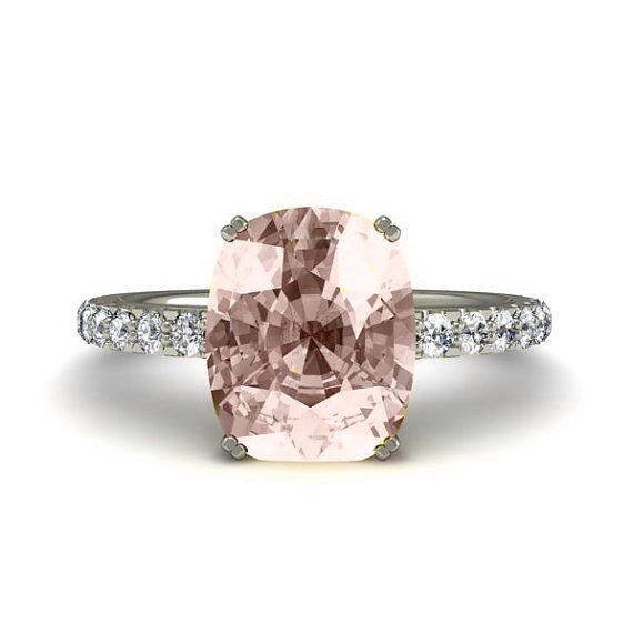 Cushion Morganite Engagement Ring Morganite Ring Solitaire with Diamonds 14K or 18K Gold Wedding Ring