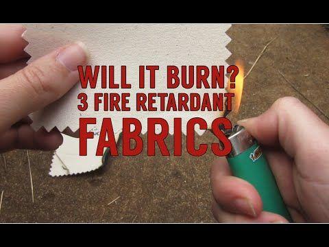 Fabric Burn! Testing Fire Retardant Fabrics: Sunforger Tent Canvas, 18oz Vinyl, & 12oz Duvetyne - YouTube