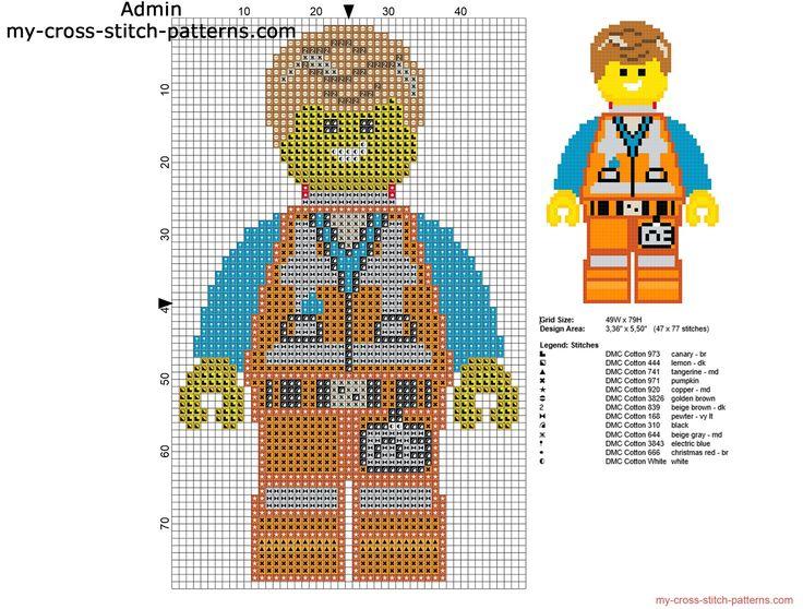Emmet La Grande Aventure Lego grille point de croix