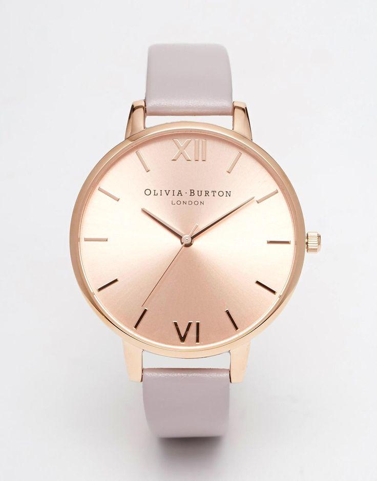 Olivia Burton Big Dial Purple Leather Strap Watch