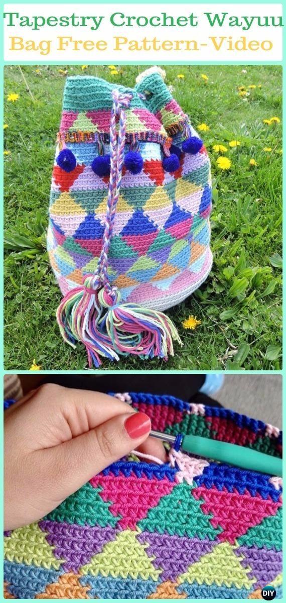Tapestry Crochet Wayuu Bag Free Pattern Video -Tapestry Crochet Free Patterns