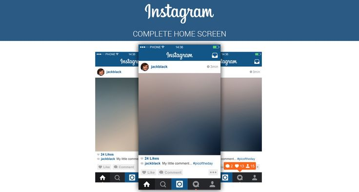 Download Instagram Home Screen PSD Layout