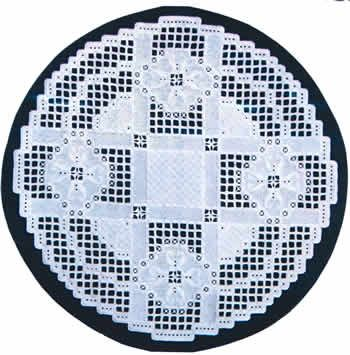 "This lovely design starts with a 16"" square of 25-count white Jobelan (890-0) or white Lugana (3835-100).  You will need one ball each of DMC Pearl Cotton Size 5, 8, and 12 in White."