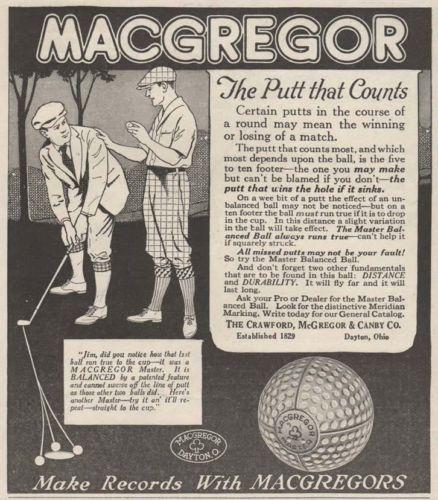 1923 MACGREGOR golf ball ad