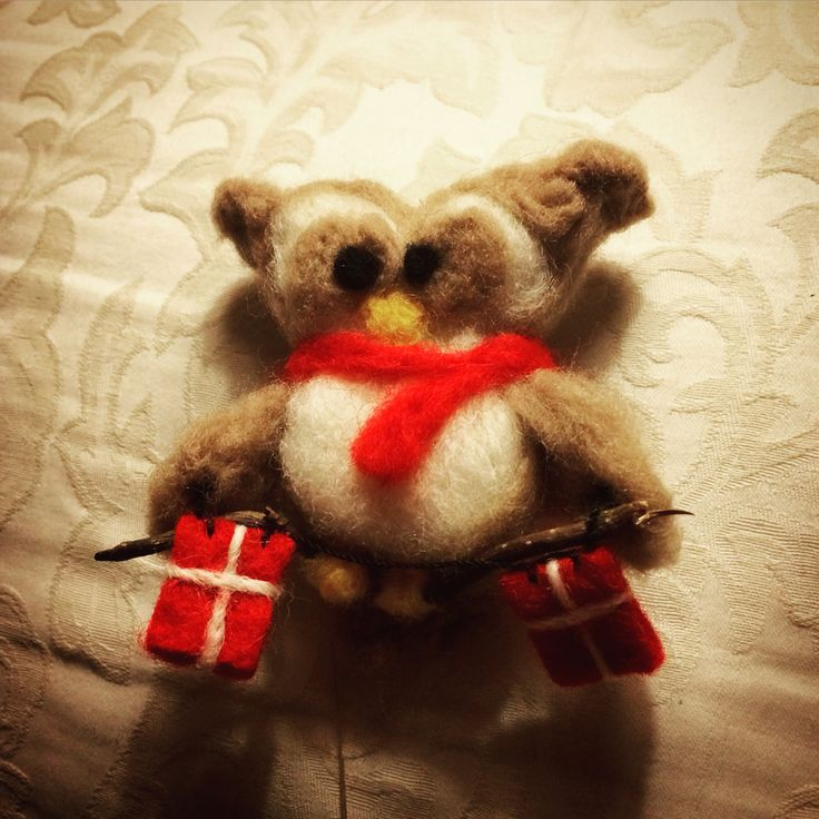 Needle felted owl rooting for Denmark!