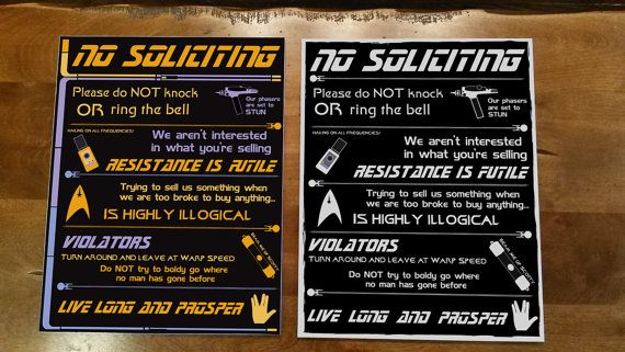Star Trek No Soliciting Sign  2 Options by ThatsSewGeeky109