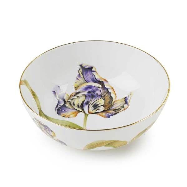 tulip bowl round dish in purple yellow | Asprey