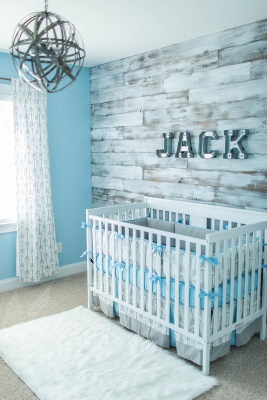 This Nursery Is Perfection The Wood Accent Wall Light Fixture Our Gray And Lake Blue Arrow Crib Bedding You Did A Great Job Thanks For Sharing