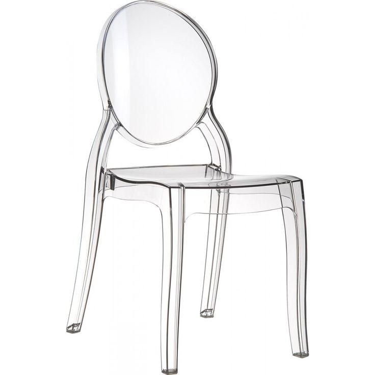Chaise Elizabeth transparente médaillon en polycarbonate. assise à 45cm