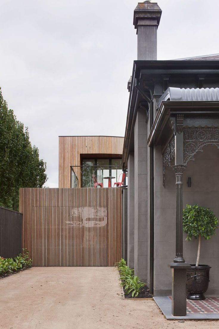 Cohen residence entry courtyard modern landscape houston by rh - Architecture Beautiful Kooyong Residence Located In Melbourne By Matt Gibson Architecture Featuring Wood Paneled Exterior Material Combined With Concrete