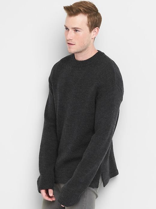 Gap Mens Oversize Wool Blend Crewneck Sweater True Black