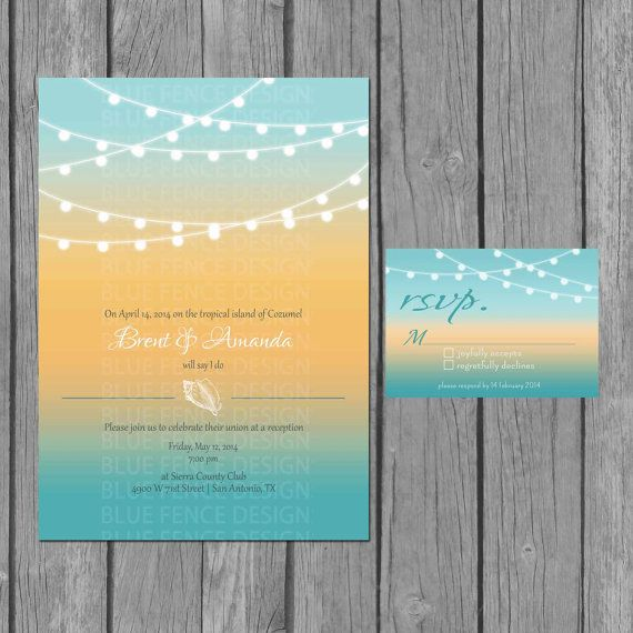 Beach Wedding Invitation, Modern, Strings Of Lights, Seashells, Reception  Only Invite, RSVP, Accommodation Card, Information Card