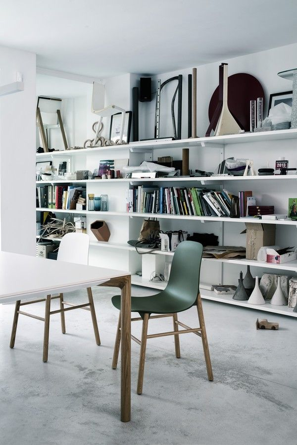 "This image from Kristalia pretty much sums up my inspiration mood at the moment. Concrete, white and green, a touch of brown/beige and slightly messy. Also, this looks like the studio of a designer, with the prototypes and unfinished objects on the shelf, and I always fall for that ""creative"