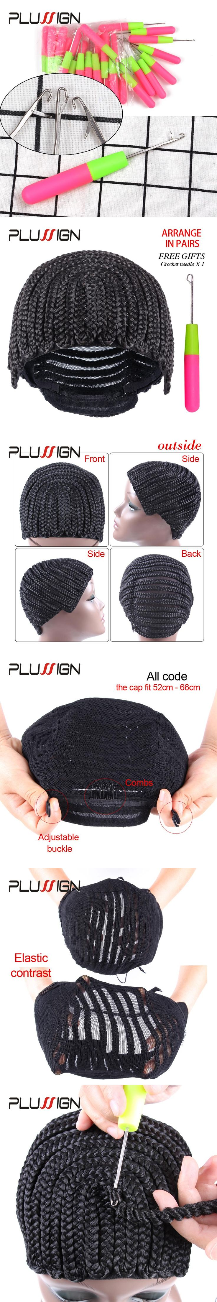 Plussign Cornrow Braid Cap with Hook Needle for Weaving Crochet Braids Dreadlocks Adjustable Cornrows Wig Cap for Making Wigs
