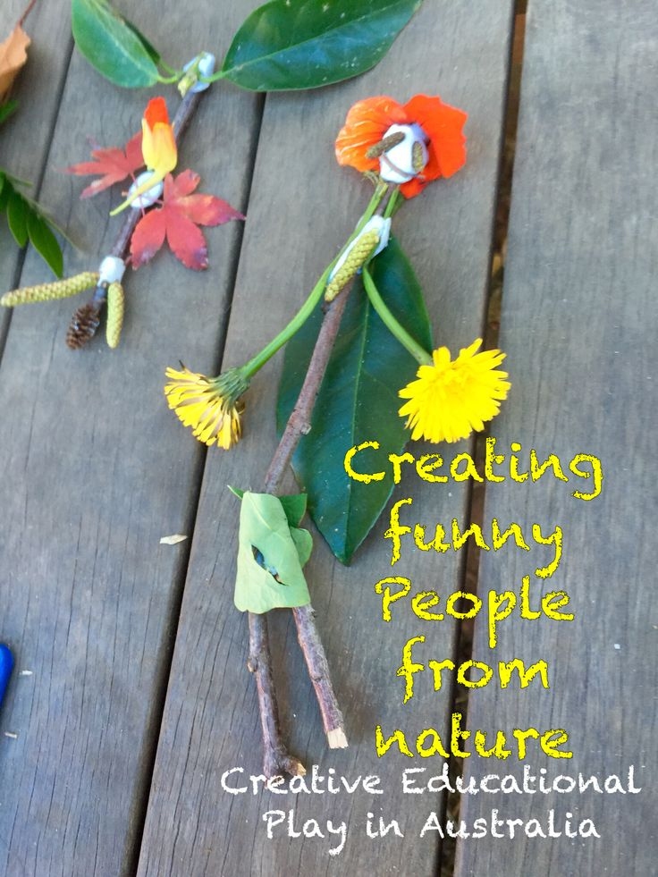 Create funny people and creatures from nature - A easy outdoor nature craft activity for kids. Http://adventuresathomewithmum.com