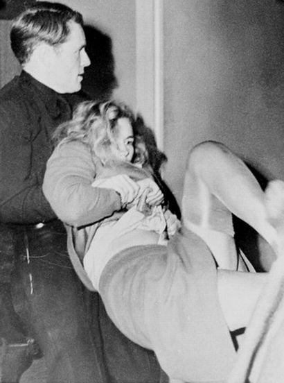 """""""[Police] physically carried her away as she shouted, """"Have you ever had a broken heart?"""" - Frances Farmer"""