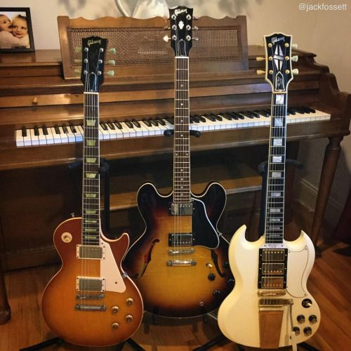 "jackfossett: "" It's important to diversify your guitar portfolio. #gibsunday #guitars #gibson #gibsonguitars #guitar #knowyourtone #guitargear #gear #semihollowsunday #porterloaded #guitarcollection #gibsonlespaul #gibsonsg #lespaul #lespaulpride..."