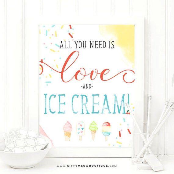Kunstdruck, Kinderzimmerdruck, Alles, was Sie brauchen, ist Liebe und Eis, Inspiration …   – Products
