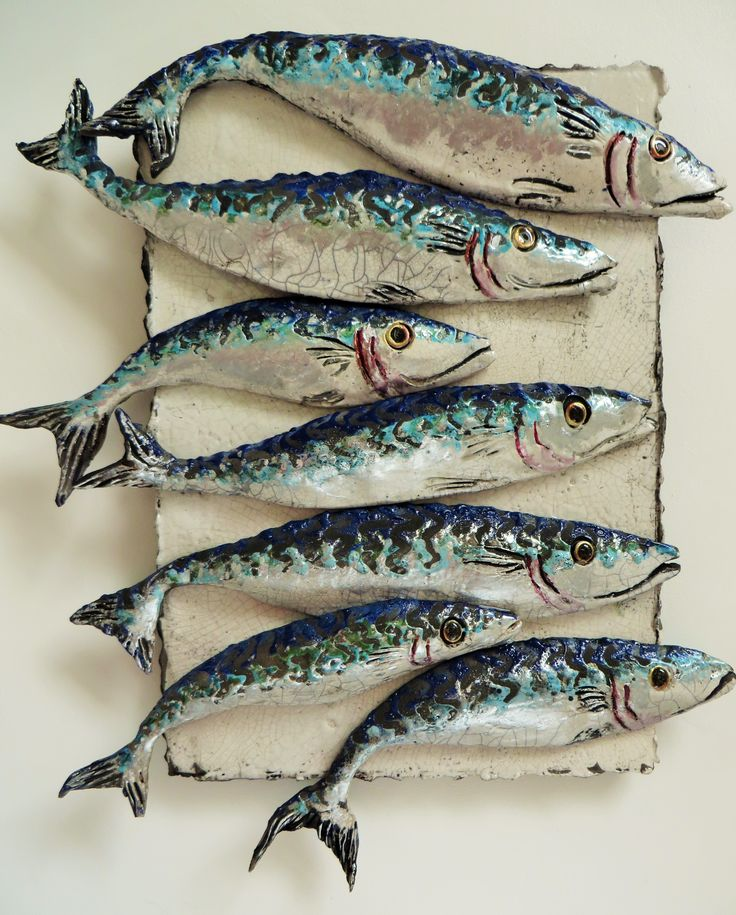 Shoal Of Mackerel II ||Raku fired with various oxides on a crackle glaze, with lustres added for a shimmering effect || Designed to give autheticity how beautiful the fish are when they move in their groups || Made for wall placement || Price On Enquiry || #CERAMICS #ART #FISH