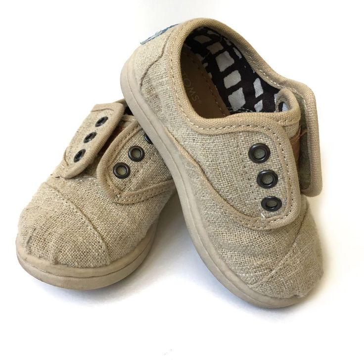 Unisex Baby Toddler Size 5 Tiny Toms Tan Burlap Canvas Slip On Sneakers Shoes  | eBay