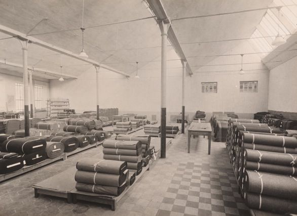 The Lanificio Zegna in Piemonte in 1941. Vintage photograph of the fabrics as they move into the end of the production phase.