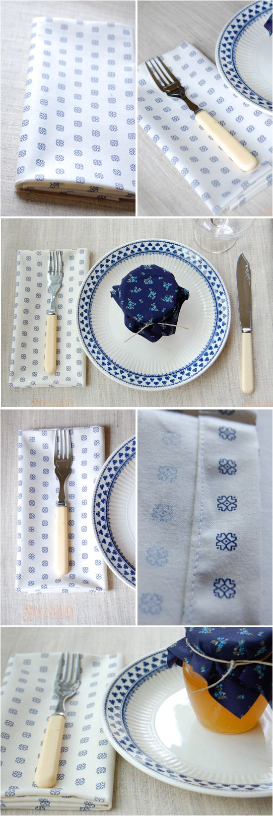 DIY Napkins - doing this with brightly colored fabrics