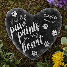 Show your love for your pet with the Paw Prints On My Heart Personalized Heart Garden Stone. Find the best personalized pet gifts at PersonalizationMall.com
