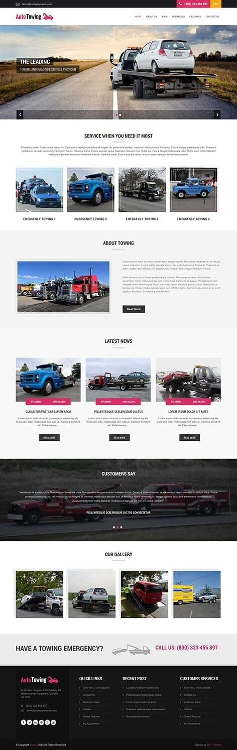 Towing WordPress Theme for Tow Truck and Hauling service SKT Themes