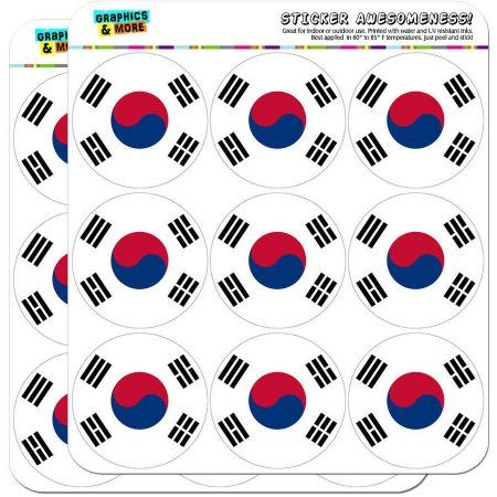 South Korea National Country Flag 18 2 inch Planner Calendar Scrapbooking Crafting Stickers, White