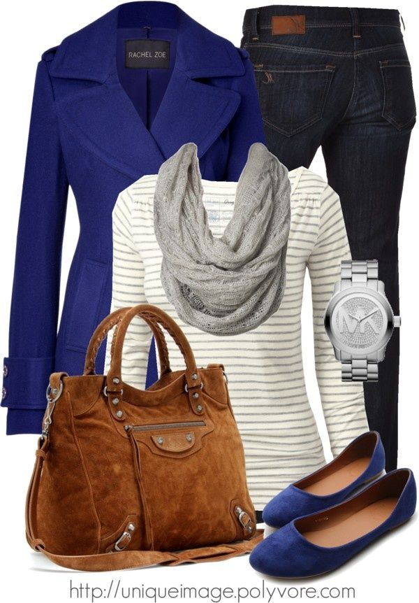 "Would do this with a bright necklace to bring up the mood!  Loving the cobalt blue - Love the flats and the jacket especially!    ""Rachel Zoe Pea Coat"" by uniqueimage ❤ liked on Polyvore"
