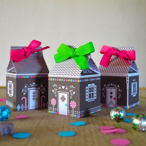Printable Gift Box  Gingerbread House   Gift Box by TheConfettiLab