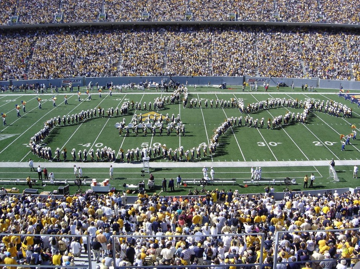 West Virginia University Mountaineers - band outlining state - at Mountaineer Field