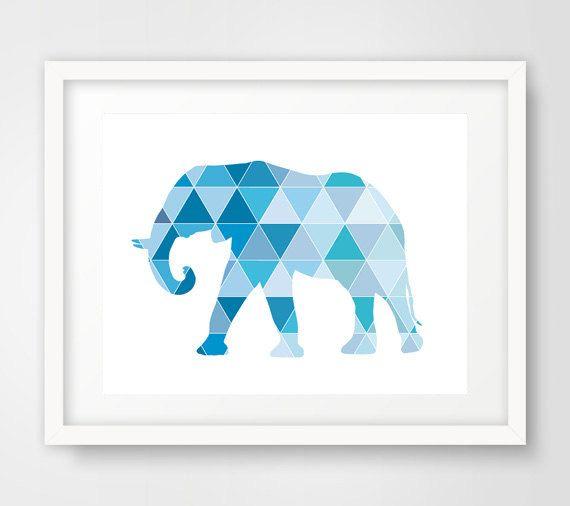 Blue geometric elephant wall art print print details 1 for Modern art home decor etsy